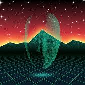 Retro wave shiny head silhouette over neon landscape