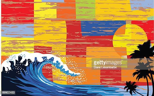 レトロな波 - clip art点のイラスト素材/クリップアート素材/マンガ素材/アイコン素材