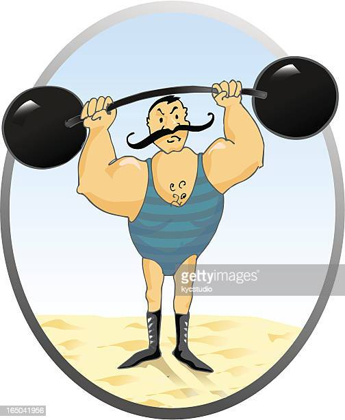 retro weight lifter - abdominal muscle stock illustrations, clip art, cartoons, & icons