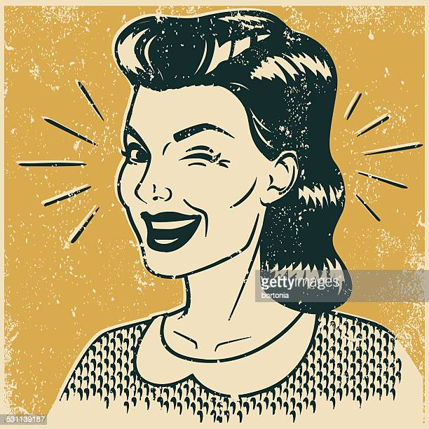retro winking woman - silk screen stock illustrations, clip art, cartoons, & icons