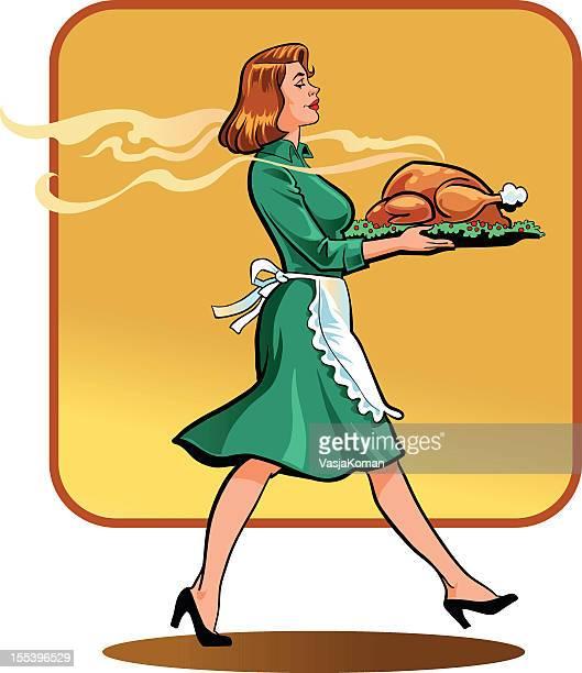 若い女性にレトロなスタイルの感謝祭ディナー
