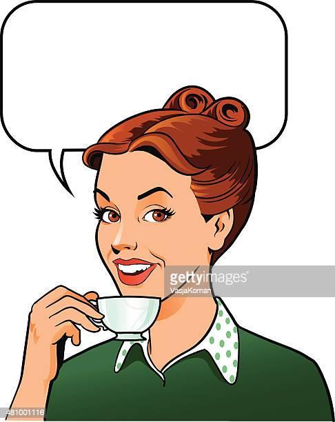 """ilustrações, clipart, desenhos animados e ícones de retro mulher tomando café com uma xícara de café """" - café bebida"""