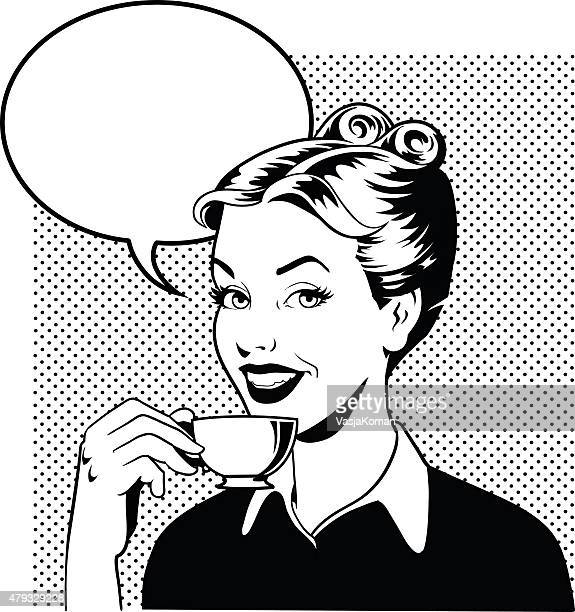 retro woman drinking coffee in black and white - coffee drink stock illustrations
