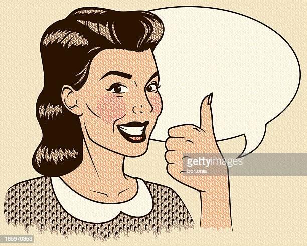 Retro Frau geben die Daumen-Up mit Sprechblase