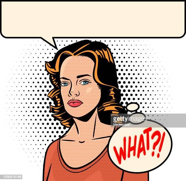 stockillustraties, clipart, cartoons en iconen met retro vrouw toespraak bubble half tone vector - only women
