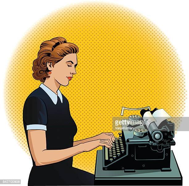 retro frau tippen auf sehr alte schreibmaschine - journalismus stock-grafiken, -clipart, -cartoons und -symbole