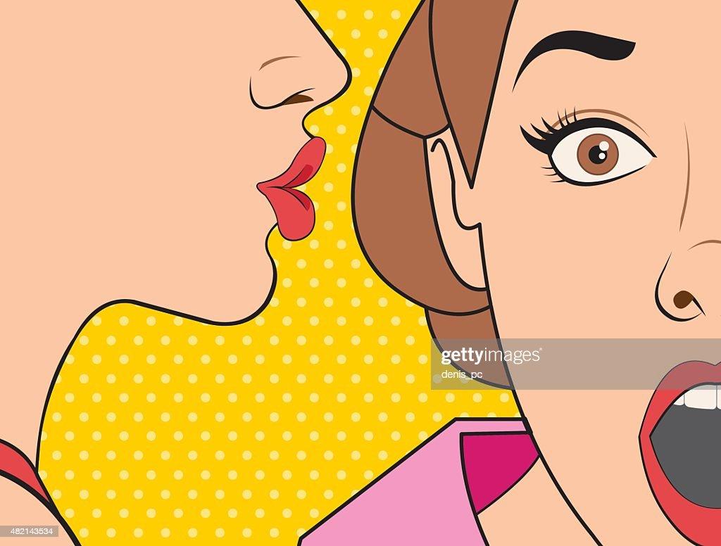 retro woman whispering a gossip