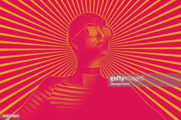 retro woman with determined facial expression - bright colour stock illustrations