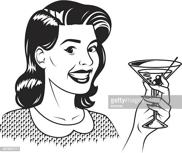 stockillustraties, clipart, cartoons en iconen met retro woman with martini - food and drink