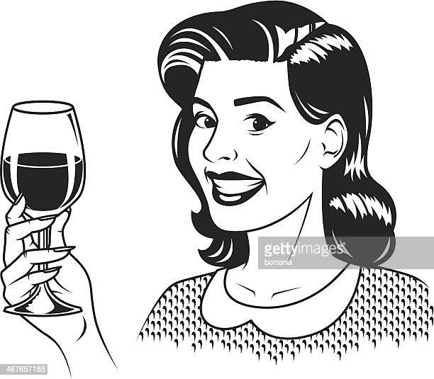 Retro Woman with Wine