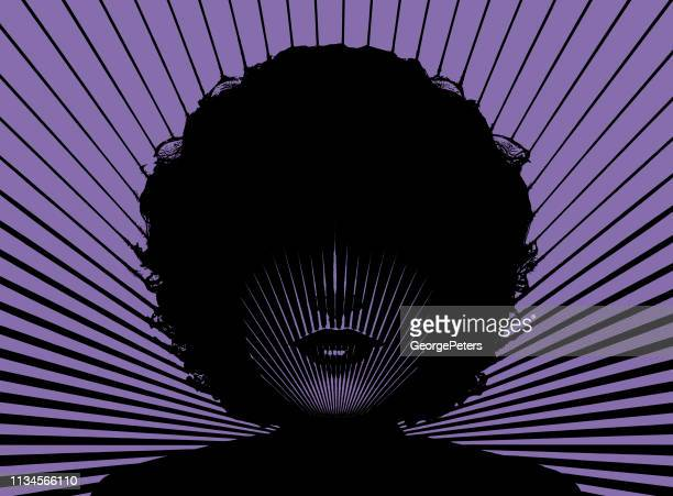 retro woman's face with vector sunbeams - black civil rights stock illustrations, clip art, cartoons, & icons