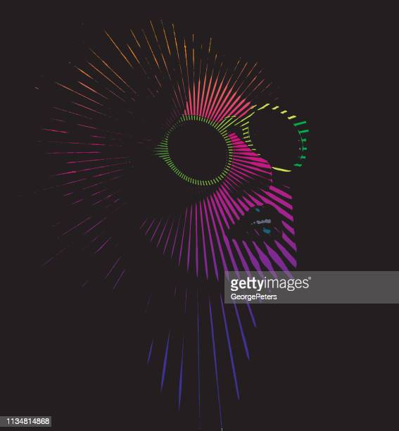 retro frau gesicht mit vektor-sonnenbalken - form ändern stock-grafiken, -clipart, -cartoons und -symbole