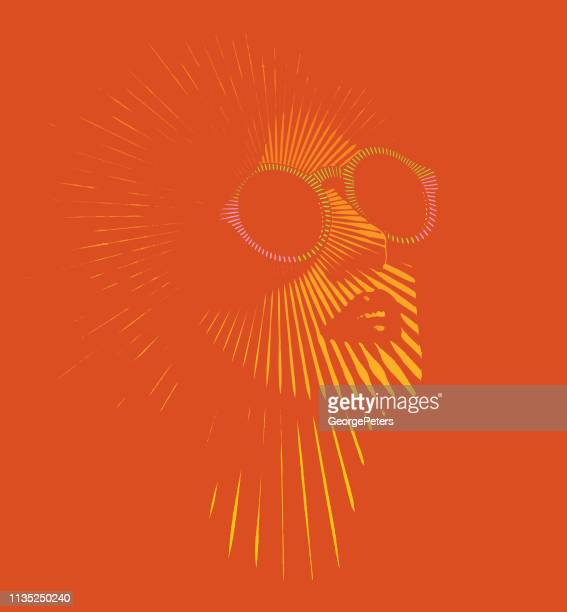 retro woman's face with vector sunbeams - glamour stock illustrations