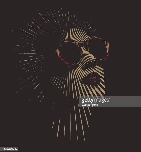 retro woman's face with vector sunbeams - heroines stock illustrations