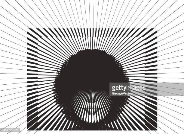Retro woman's face with vector sunbeams