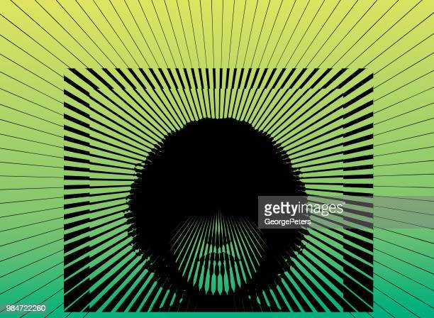 Retro woman's face with vector sunbeams