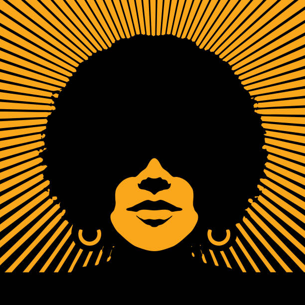 retro woman's face with vector sunbeams - lips stock illustrations