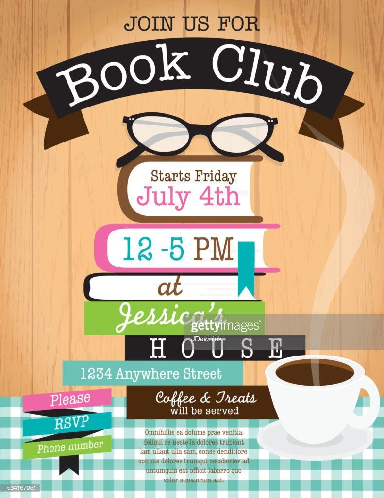 Retro Women S Book Club Event Invitation Design Template Woodgrain Background