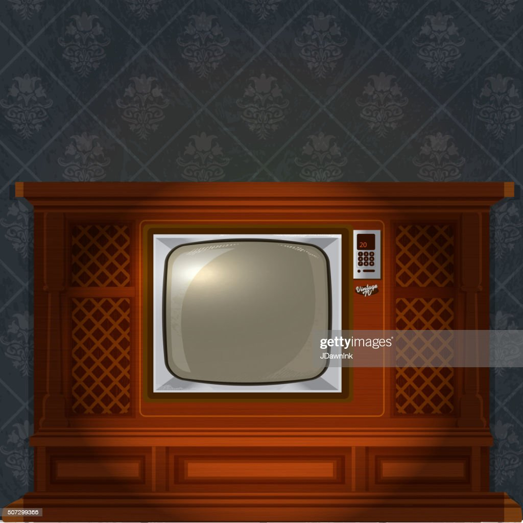 Retro Wood Television With Old Fashioned Wallpaper Vector Art