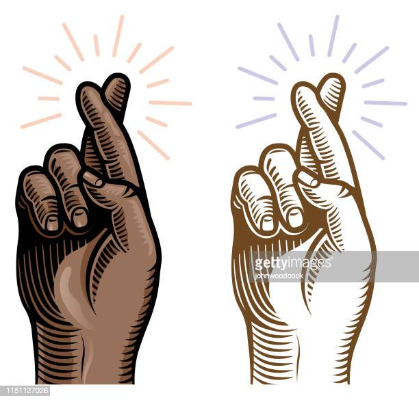 Retro woodcut black crossed fingers