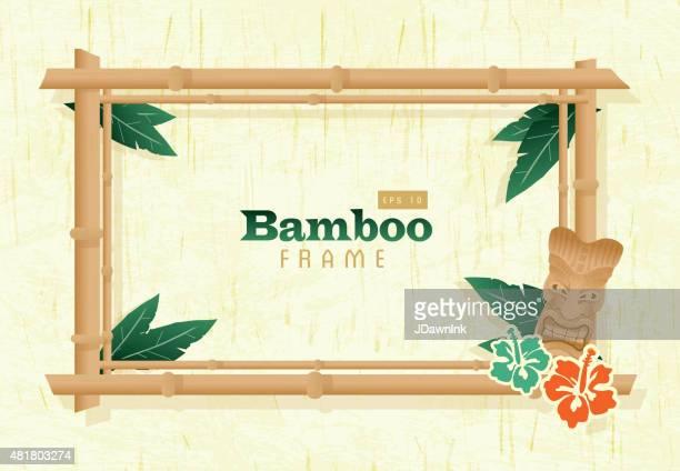 retro wooden bamboo frame - tranquil scene stock illustrations