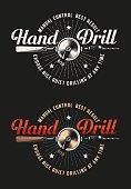 Retro workshop logo with hand drill
