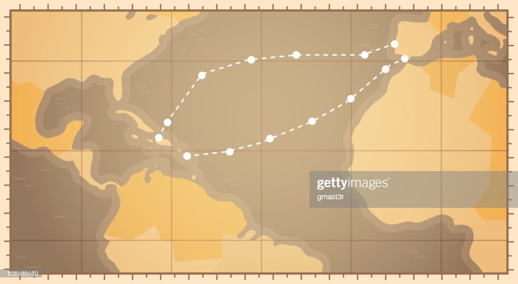Retro world map with columbus route happy colombo day national usa retro world map with columbus route happy colombo day national usa holiday concept gumiabroncs Gallery
