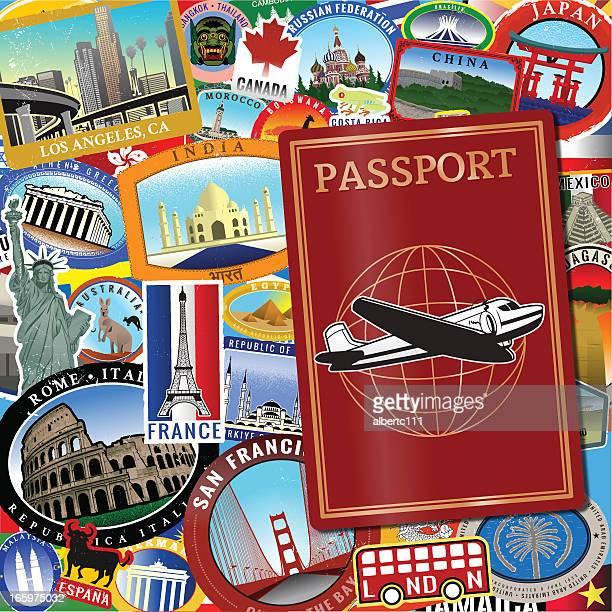 illustrations, cliparts, dessins animés et icônes de rétro monde passport - culture française