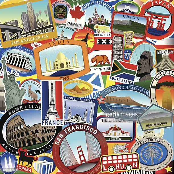 retro world travel sticker collage - travel tag stock illustrations, clip art, cartoons, & icons