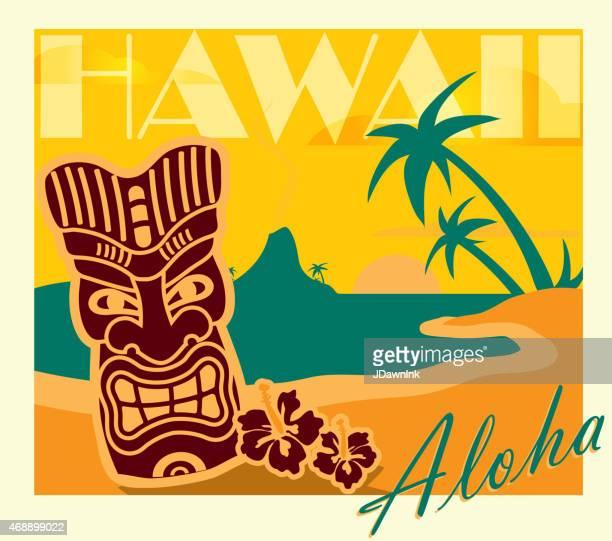 Retro yellow Summer Tiki Bar Hawaiian party postcard design template