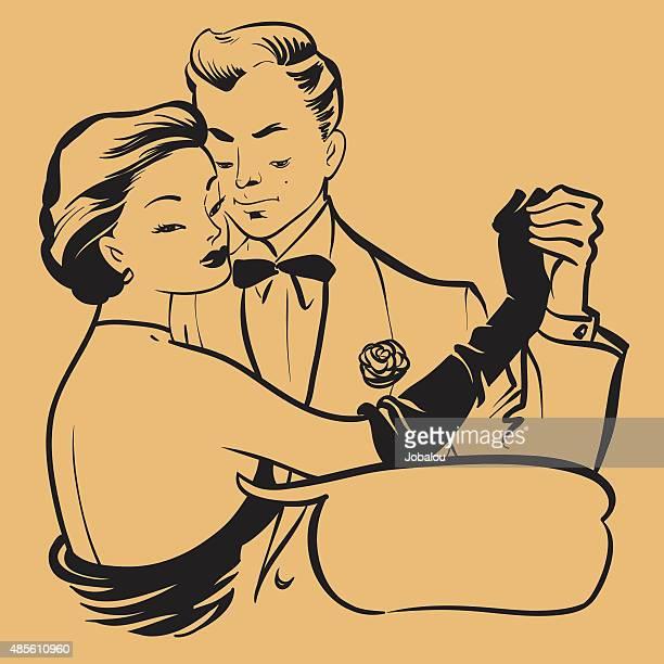 ilustraciones, imágenes clip art, dibujos animados e iconos de stock de joven pareja de baile retro - bailar un vals