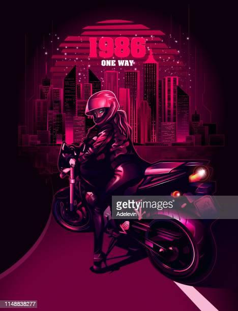 retrowave-biker - hauptstraße stock-grafiken, -clipart, -cartoons und -symbole
