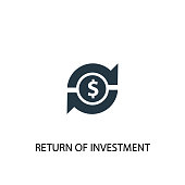 Return of investment icon. Simple element illustration
