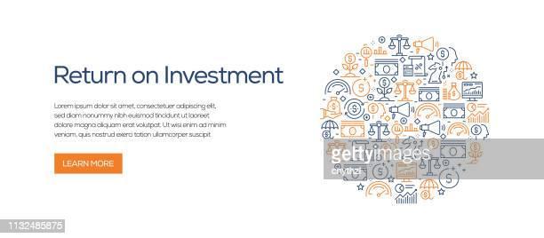 return on investment banner template with line icons. moderne vektordarstellung für werbung, header, website. - kapitalrendite stock-grafiken, -clipart, -cartoons und -symbole