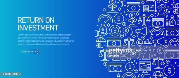 return on investment banner template mit liniensymbolen. moderne vektor-illustration für werbung, header, website. - kapitalrendite stock-grafiken, -clipart, -cartoons und -symbole