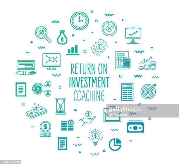 illustrations, cliparts, dessins animés et icônes de retour sur investissement coaching style infographic design - épargne