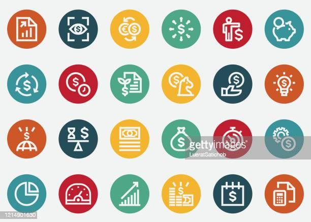 return on investment colour icons - kapitalrendite stock-grafiken, -clipart, -cartoons und -symbole