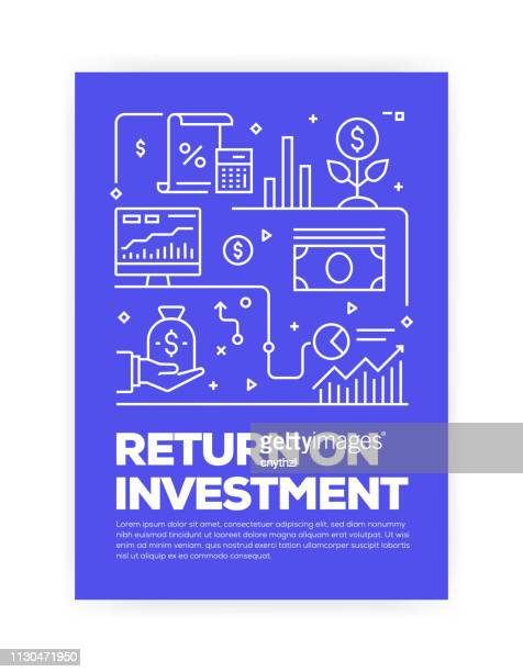 return on investment concept line style cover design for annual report, flyer, brochure. - return on investment stock illustrations