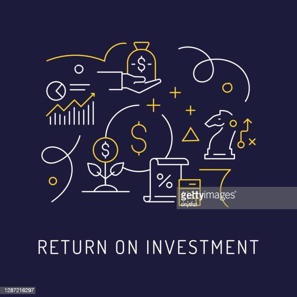 return on investment concept, modern line art icons hintergrund. linearer stil vektor illustration. - return stock-grafiken, -clipart, -cartoons und -symbole