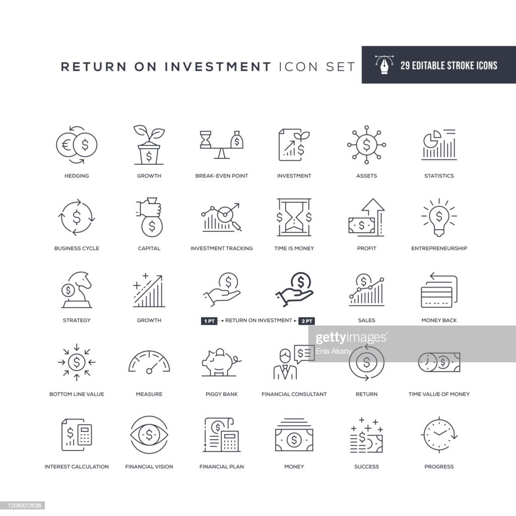 Retorno sobre ícones de linha de traçado editáveis de investimento : Ilustração