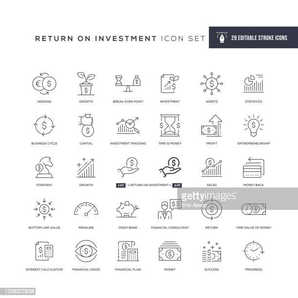 return on investment editable stroke line icons - ersparnisse stock-grafiken, -clipart, -cartoons und -symbole