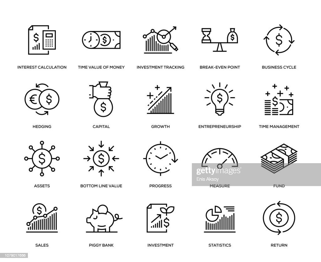 Return on Investment Icon Set : stock illustration