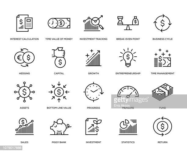 return on investment icon set - growth stock illustrations