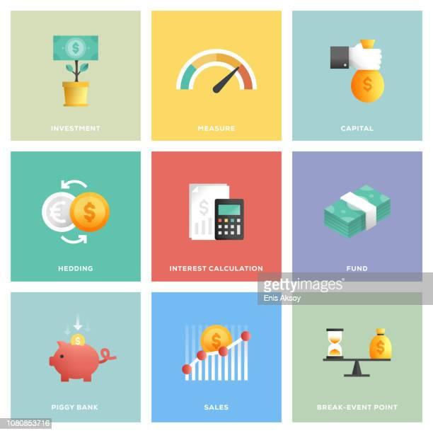 ilustrações, clipart, desenhos animados e ícones de retorno sobre o investimento conjunto de ícones - finanças