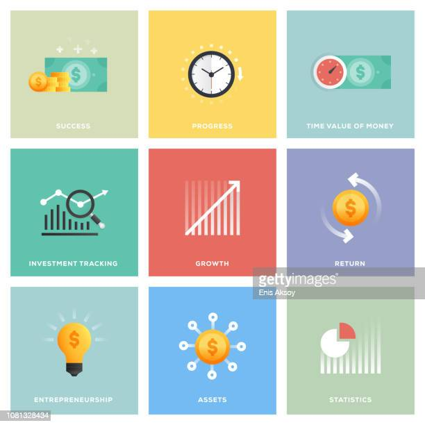 return on investment icon set - making money stock illustrations