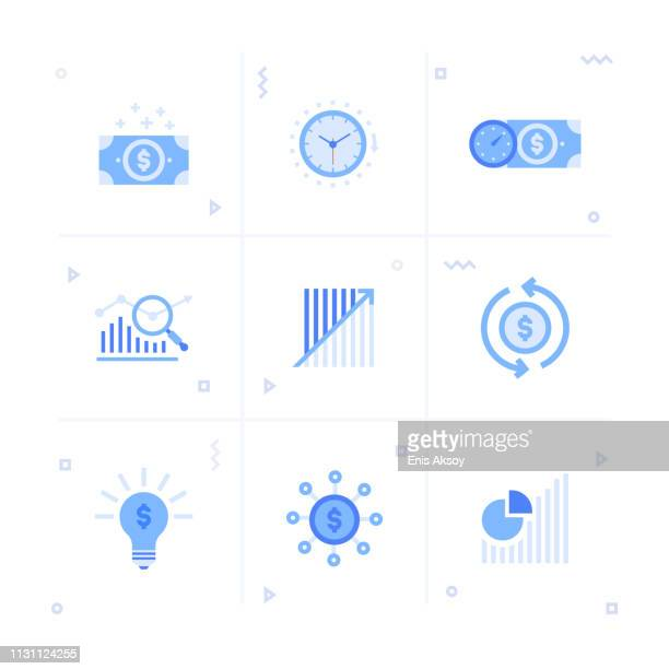 return on investment icon set - at the bottom of stock illustrations