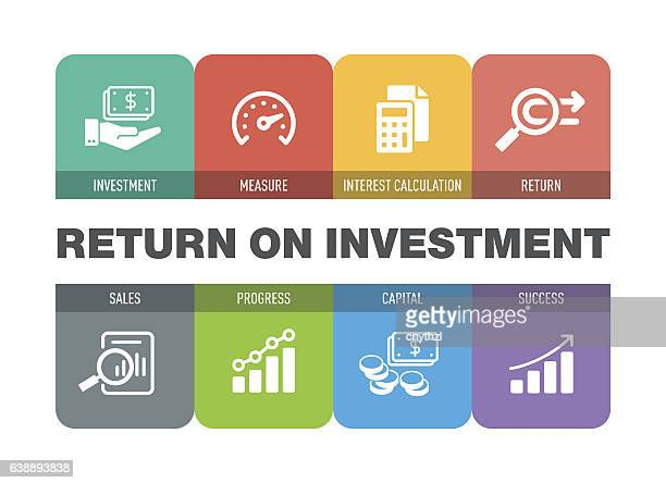 return on investment icon set - money manager stock illustrations, clip art, cartoons, & icons