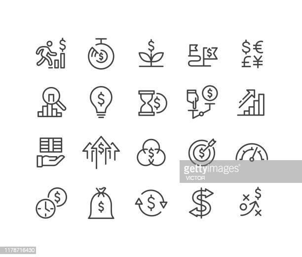 ilustraciones, imágenes clip art, dibujos animados e iconos de stock de retorno de los iconos de inversión - classic line series - devolución del saque