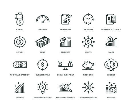 Return on Investment Icons - Line Series - gettyimageskorea