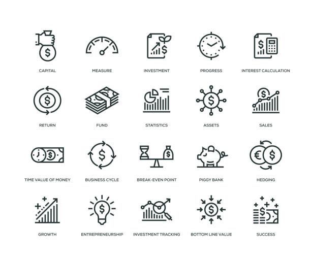 return on investment icons - line series - vector stock illustrations
